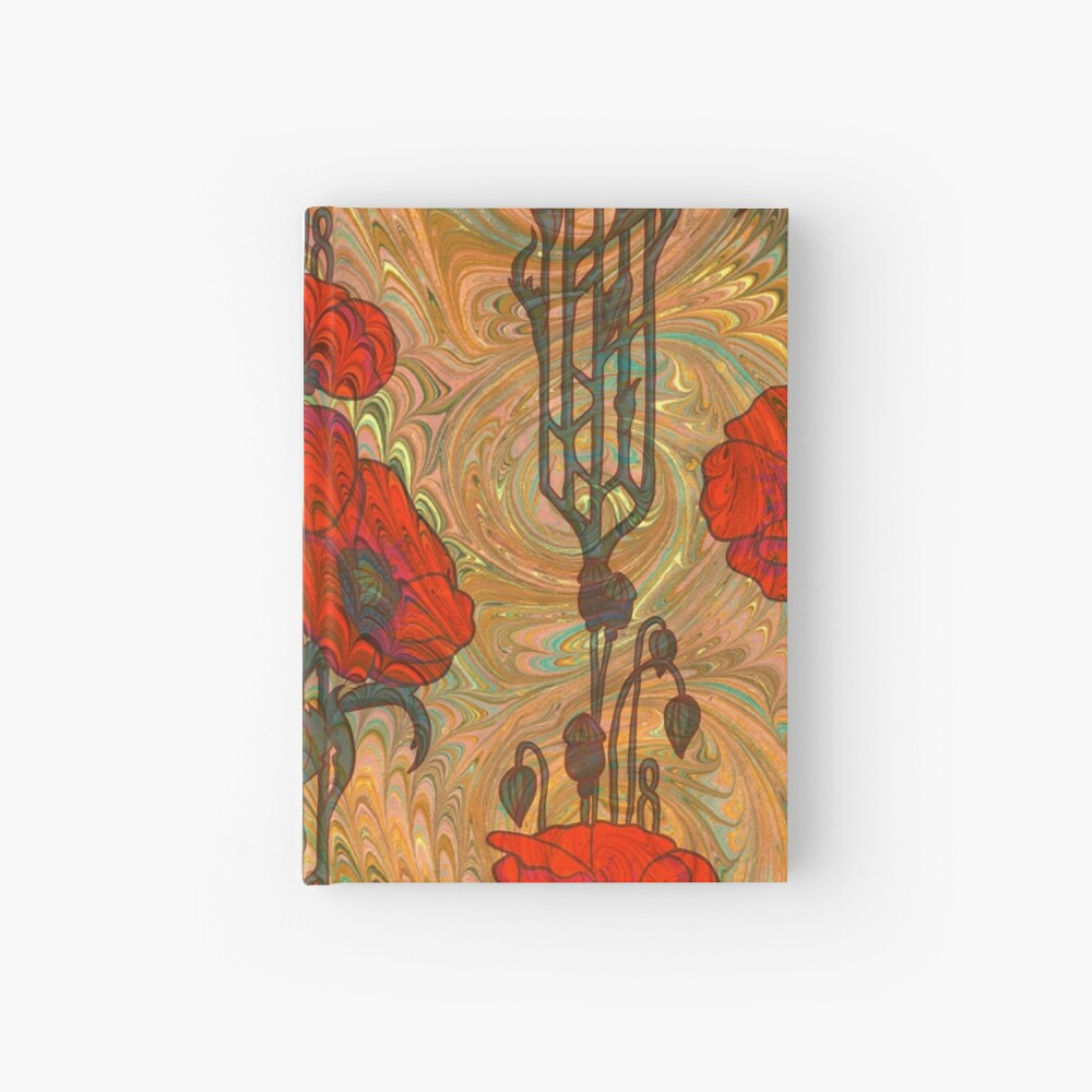 Art Nouveau Poppy Dream IV, Red, Peach, Green and Gold Hardcover Journal