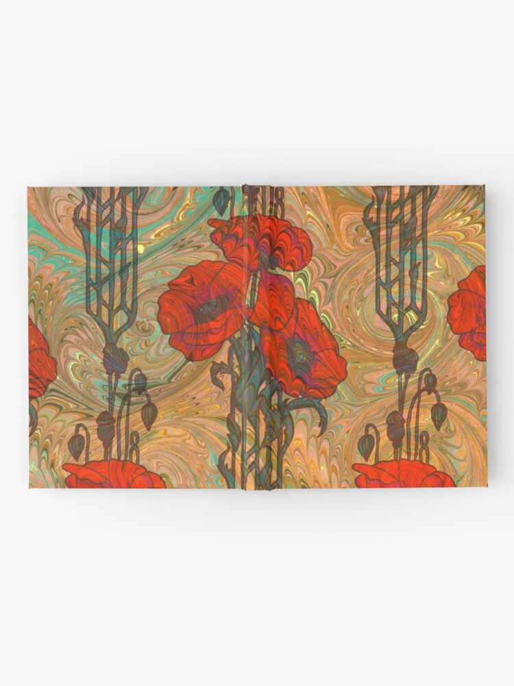 Alternate view of Art Nouveau Poppy Dream IV, Red, Peach, Green and Gold Hardcover Journal