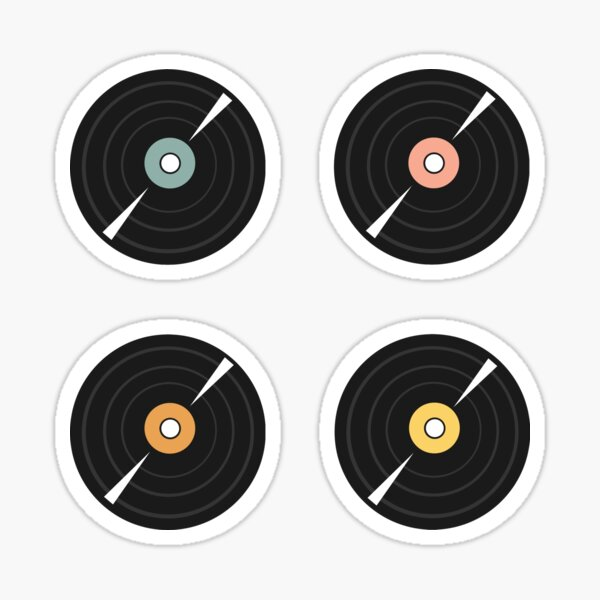 Pastel Vinyl Records Set Sticker