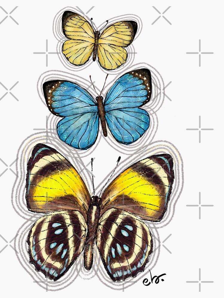 Trio Yellow & Blue butterflies by ebozzastudio