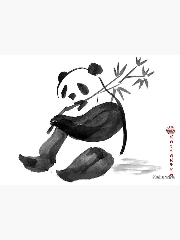 Tarjetas De Felicitación Pintura En Tinta China Panda Con Bambú Pintura En Tinta Oso Panda De Kallandra Redbubble