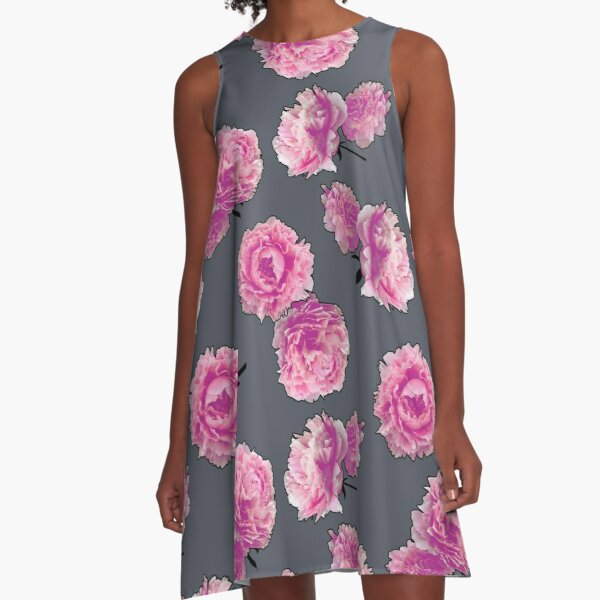 Outlined photographic flowers A-Line Dress
