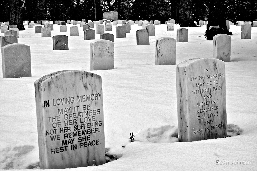 Snowing In The Cemetary by Scott Johnson