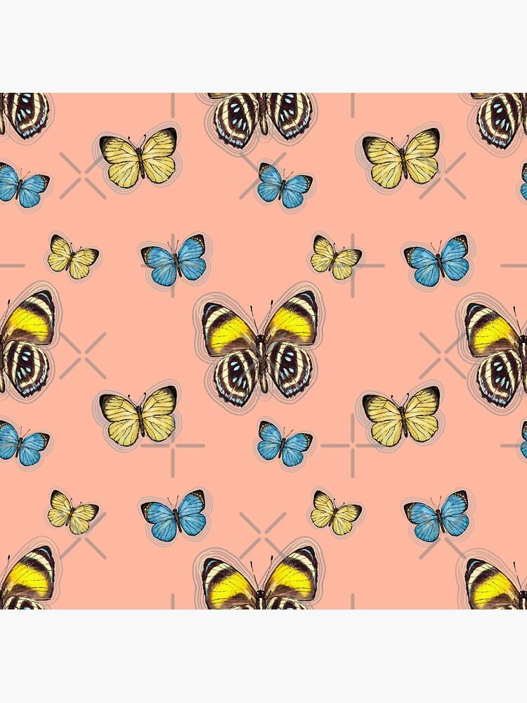 Trio Yellow & Blue butterflies in peach by ebozzastudio