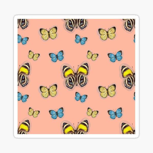 Trio Yellow & Blue butterflies in peach Sticker