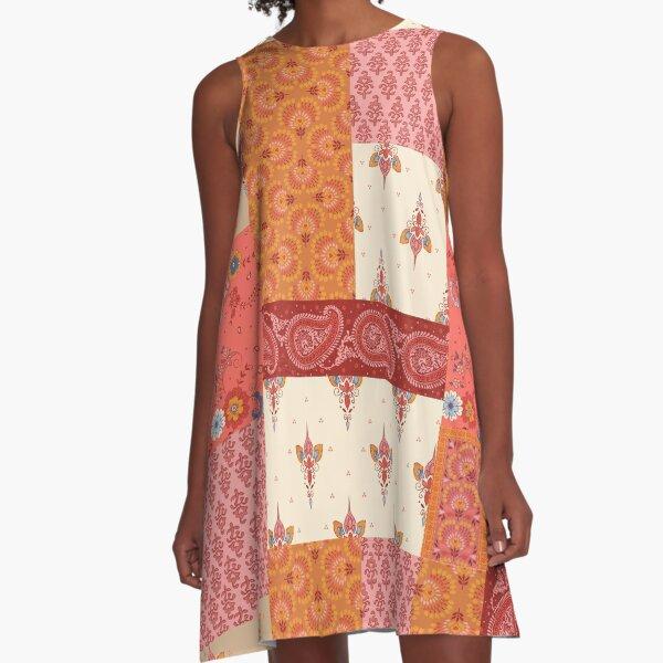 Patchwork print A-Line Dress
