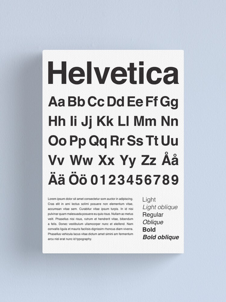 Alternate view of Typography Poster Helvetica Alphabet Canvas Print