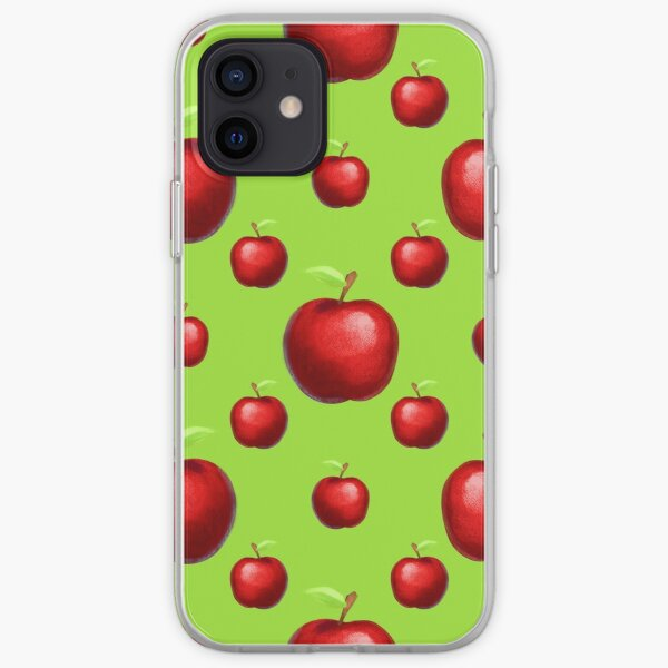 Apple Pattern Fruit On Neon Green Background iPhone Soft Case