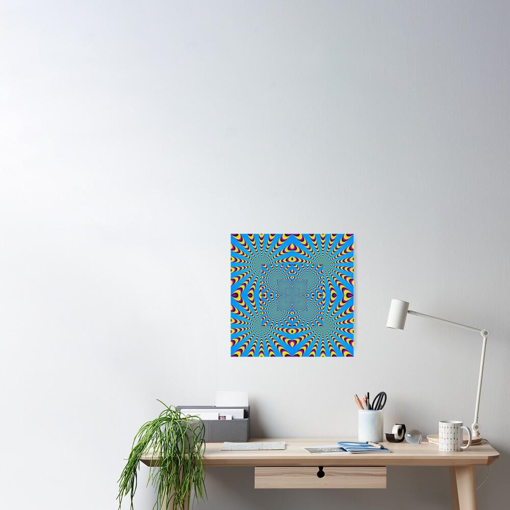 Blue optical illusions colour Poster