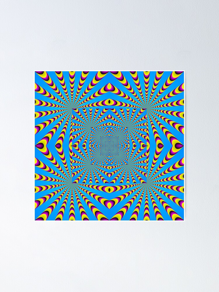 Alternate view of Blue optical illusions colour Poster
