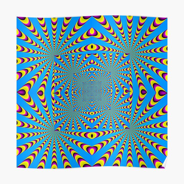 Blue optical illusions colour Poster