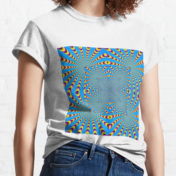 Blue optical illusions colour Classic T-Shirt