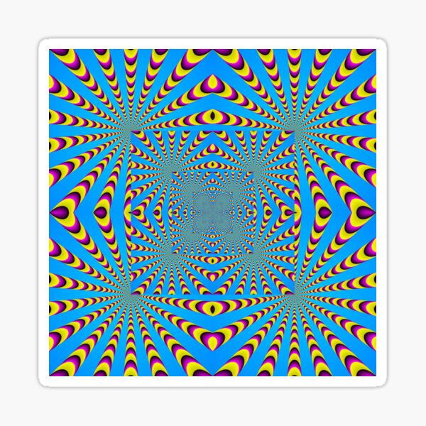 Blue optical illusions colour Sticker