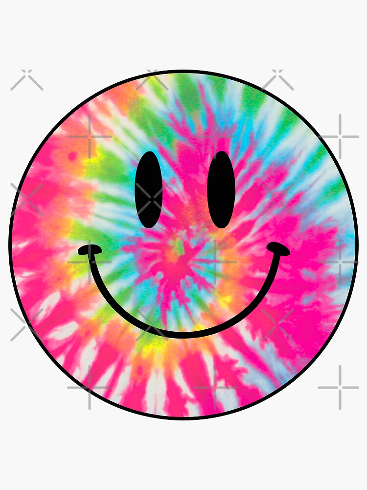 tie dye happy face by discostickers