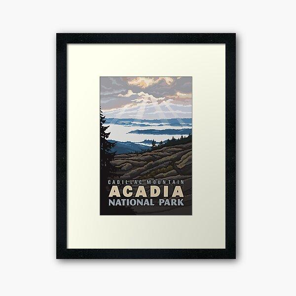 Weinlese-Cadillac-Berg-Acadia-Nationalpark Gerahmter Kunstdruck