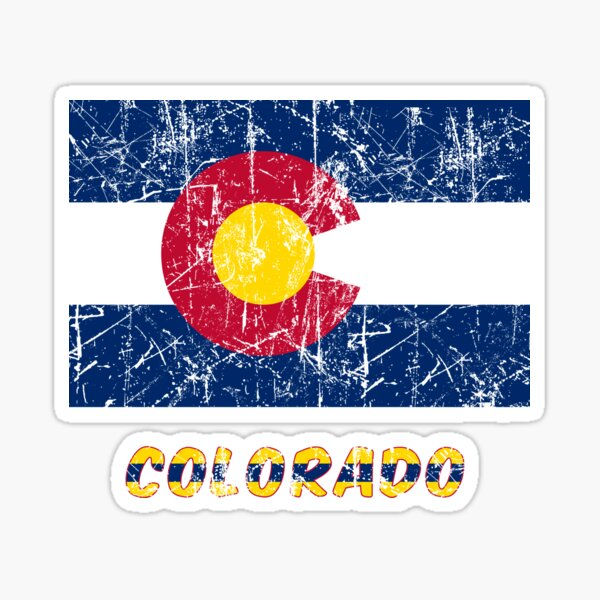 flag of Colorado grunge and dirt effect Sticker