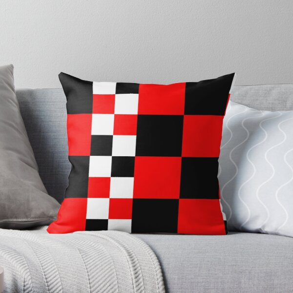 Symphony of red white and black squares -  vintage graphic t shirts Throw Pillow