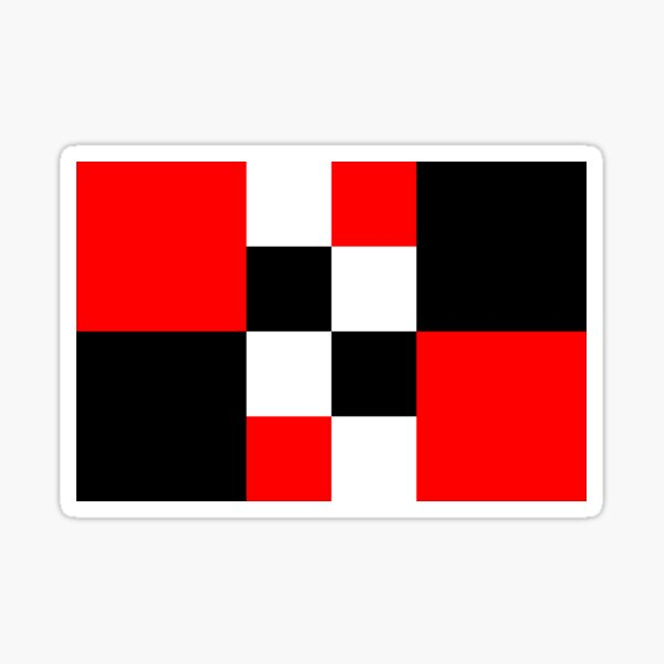 Symphony of red white and black squares -  vintage graphic t shirts Sticker