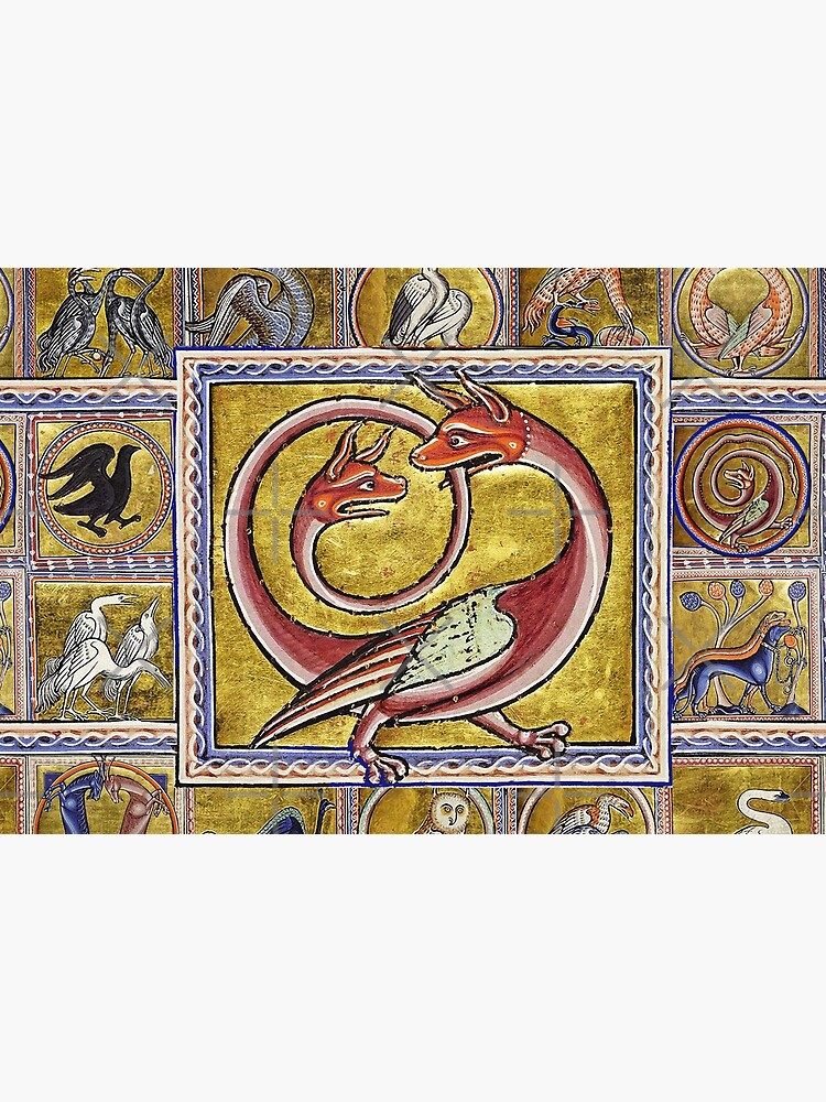 MEDIEVAL BESTIARY,TWO HEADED RED DRAGON, FANTASTIC ANIMALS IN GOLD RED BLUE COLORS by BulganLumini