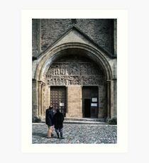 Tourists examining facade Conques Abbey Church St Foy 1040-1130 19840228 0037 Art Print