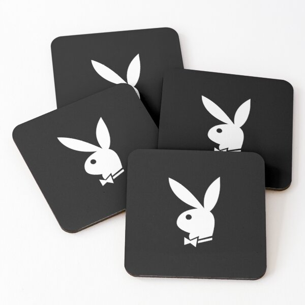 White Playboy Bunny Coasters (Set of 4)