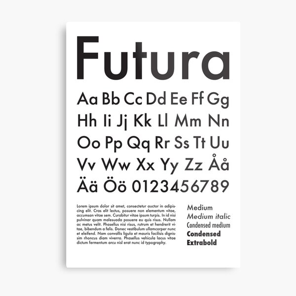 Typography Poster Futura Alphabet Metal Print