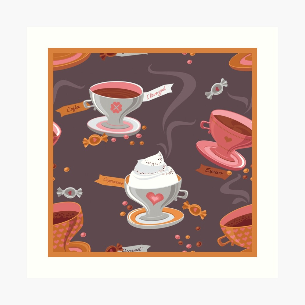 Coffee Pattern Art Print