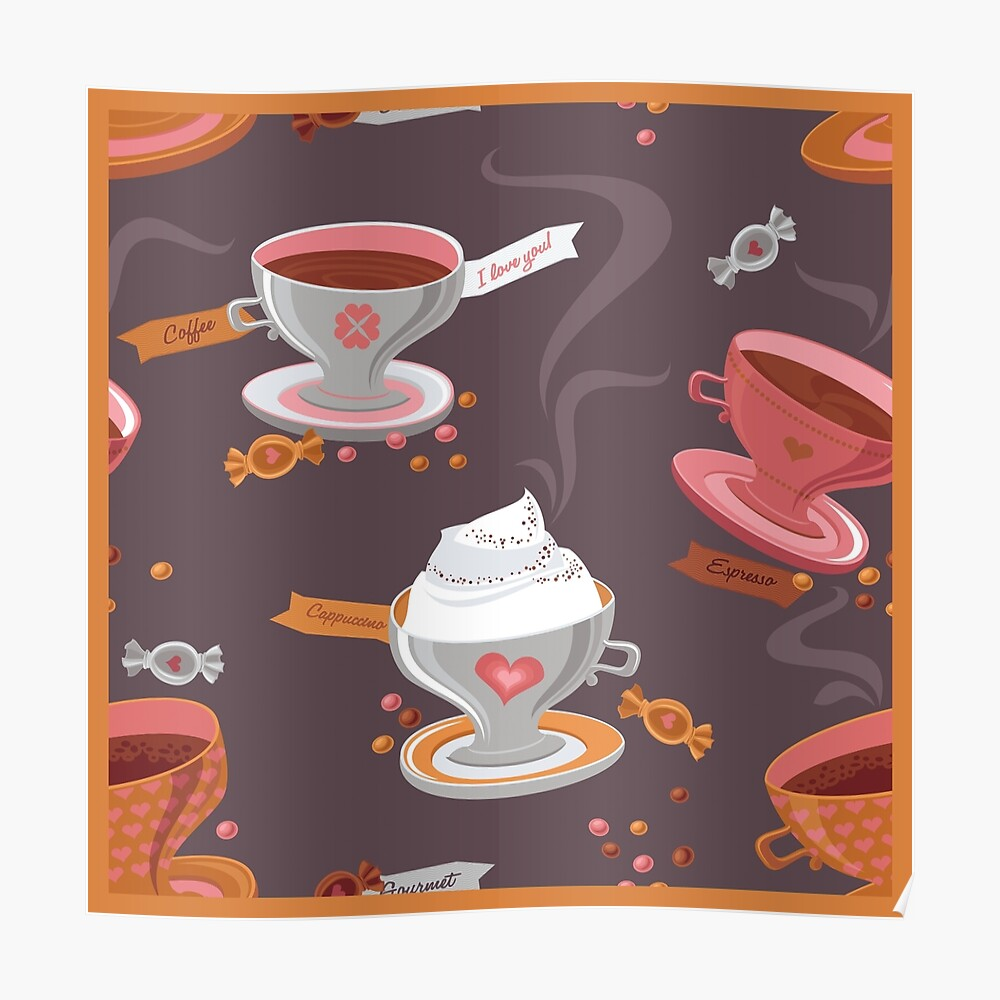 Coffee Pattern Poster