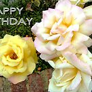 WHITE ROSES ON THE WALL. HAPPY BIRTHDAY by Shoshonan