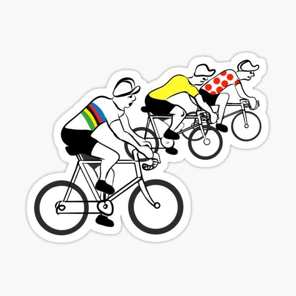 Vintage Fahrradfiguren mit farbigen Trikots. Sticker