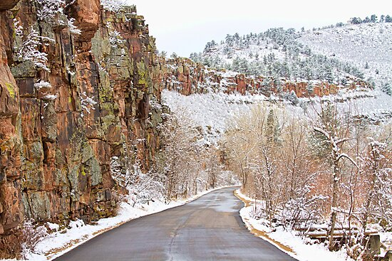 Follow The Red Rock Ridge Winter Road  by Bo Insogna