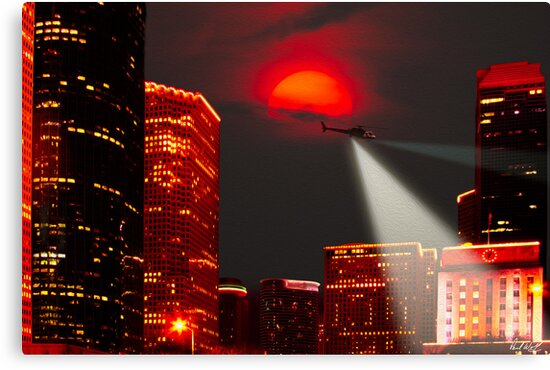 Chopper Over Houston-Oil by Paul Wolf