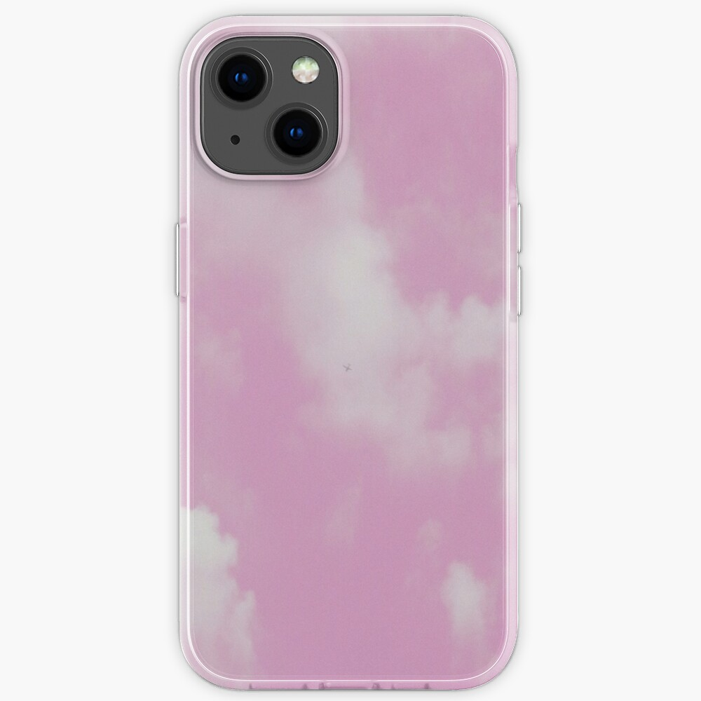Pastel Pink and White Cloudy Sky iPhone Case
