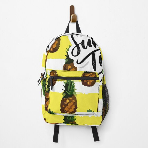 Natural seamless pattern with juicy pineapple pieces slices white Backpack