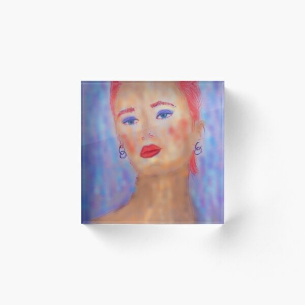 A LADY WITH RED HAIR, BLUE EYES AND RED LIPS Acrylic Block