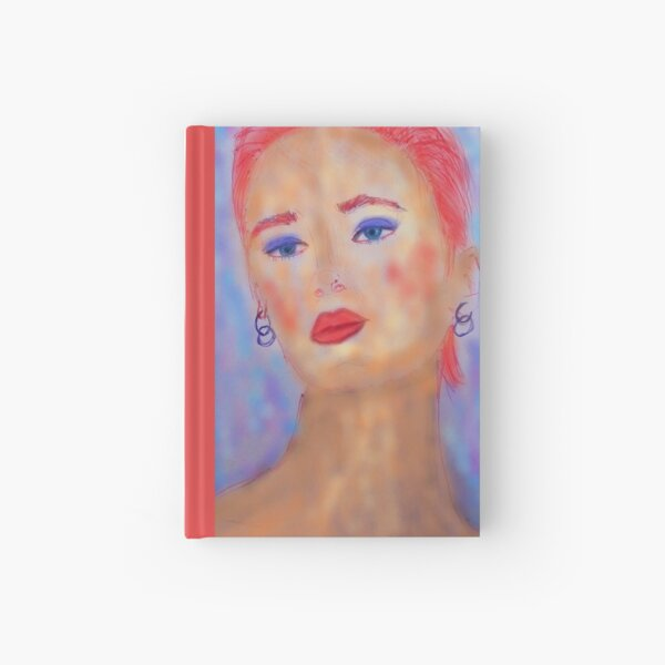 A LADY WITH RED HAIR, BLUE EYES AND RED LIPS Hardcover Journal
