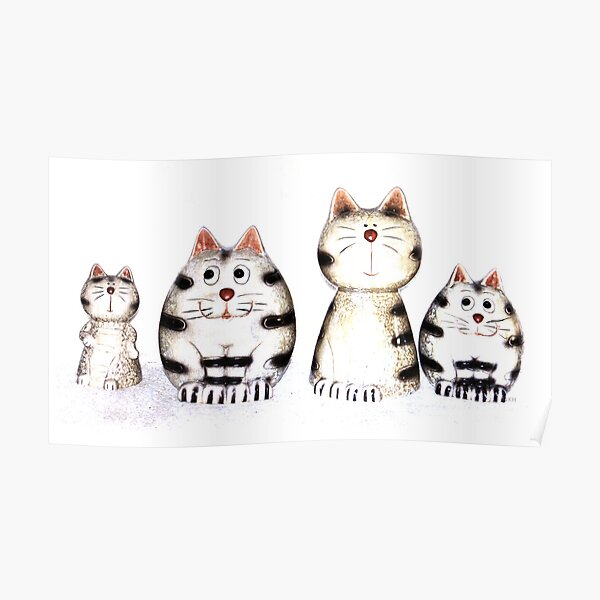 Four funny cats Poster