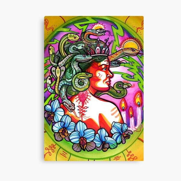 medusa with orchids, candles and lightning. Canvas Print