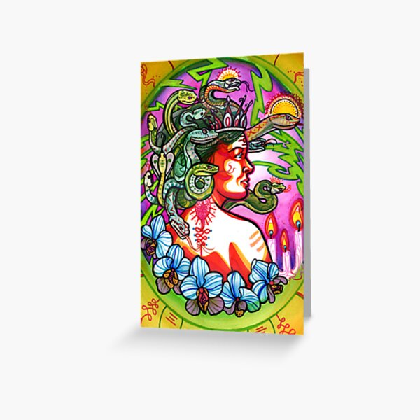 medusa with orchids, candles and lightning. Greeting Card