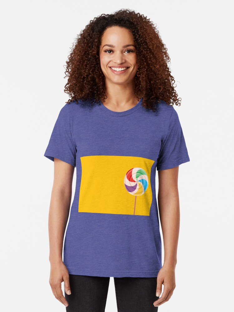 Alternate view of Colorful Lollypop on Yellow Tri-blend T-Shirt