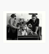Busy time at coffee shop Art Print
