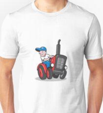 Farmer Driving Vintage Tractor Cartoon T-Shirt