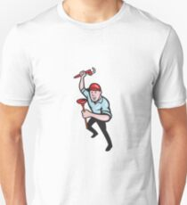 Plumber With Monkey Wrench And Plunger Cartoon Unisex T-Shirt