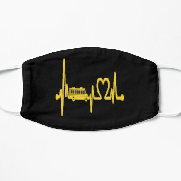 Funny School Bus Driver Gift Love School Bus Heartbeat Lovers Bus Mask