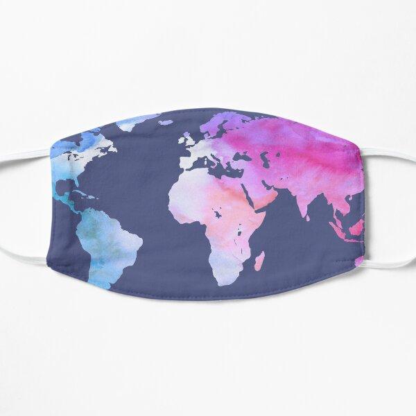 World Map | Magenta Purple Watercolour | Globetrotter Flat Mask