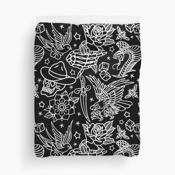 American Traditional Tattoo Flash Print  Duvet Cover