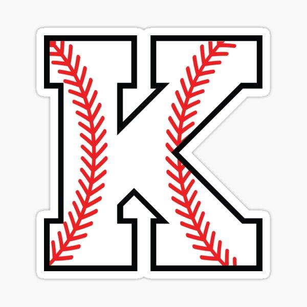 Baseball Sports Letter K - Kappa Monogram Alphabet Sticker