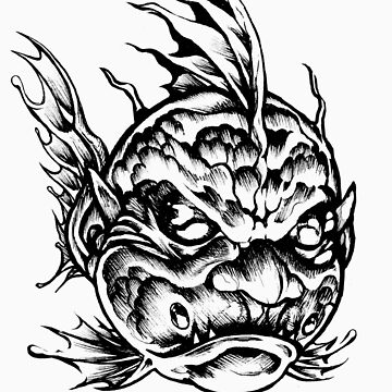 Fish Face Monster 2013 bw by magnus2013