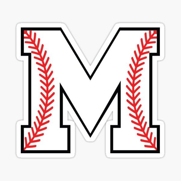 Baseball Letter M - Sports Monogram Alphabet Sticker