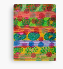 Round Shapes within and above horizontal Stripes  Canvas Print